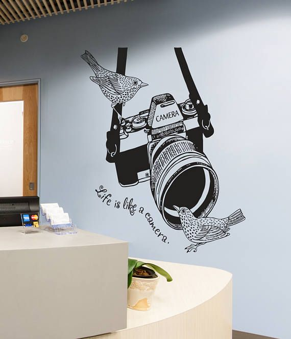 Photo Camera Wall Decal Photo Camera Wall Sticker Vintage Etsy In 2021 Wall Stickers Vintage Photo Studio Decor Wall Decals