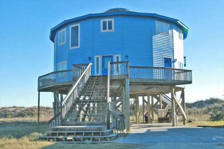 North Topsail Beach Vacation Rental - VRBO 409710 - 6 BR Topsail Island House in NC, Unique in-the-Round Oceanfront Home for Big Families wi...