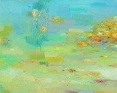 Beach and Sea Giclee Print 12x12 from original abstract oil painting