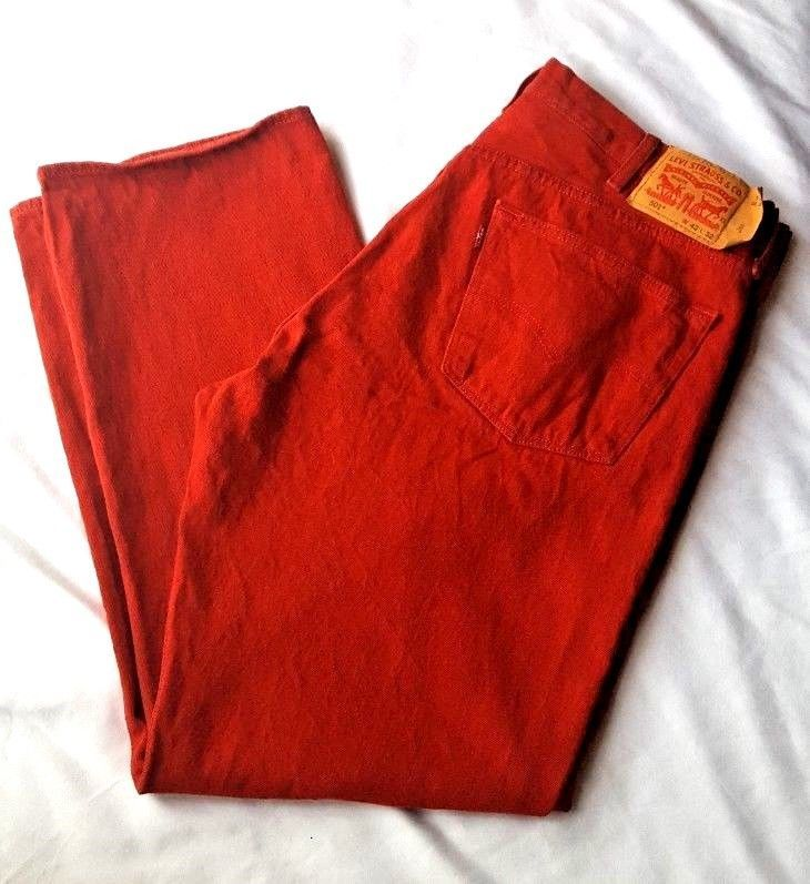 Levi Strauss Jeans Men's Red Denim Tag 42x30 Measure 40x30  Button Fly 501  #Levis #ClassicStraightLeg