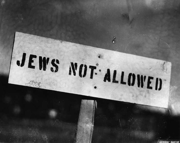 Source: Photograph of a sign against discrimination. In the 1930s Jews were being discriminated against mostly everywhere through Canada. Many stores and other public facilities wouldn't allow Jewish men or Women in them. They would let them know by having signs up in the front window.