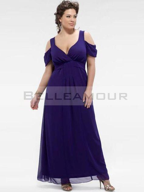 Robe de soirée Grande Taille Longue Mousseline Col V Bleu Mousseline