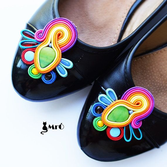 Fairytale soutache clips shoes very colorful  by MrOsOutache, $30.00