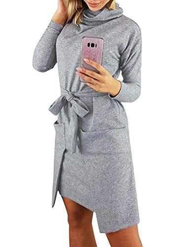 5464e7e1bdb4 Tomwell Donna Invernale Eleganti Vestito Pullover Jumper Maglione Collo  Rotondo Manica Lunga Maglieria Vestiti Maglia Abito