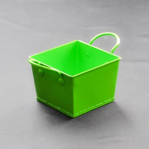 Green square metal bucket
