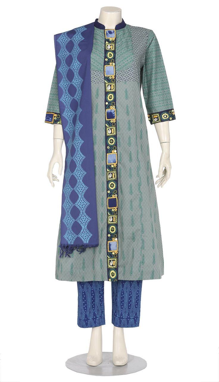 Sage Green Printed and Embroidered Cotton Shalwar Kameez Set