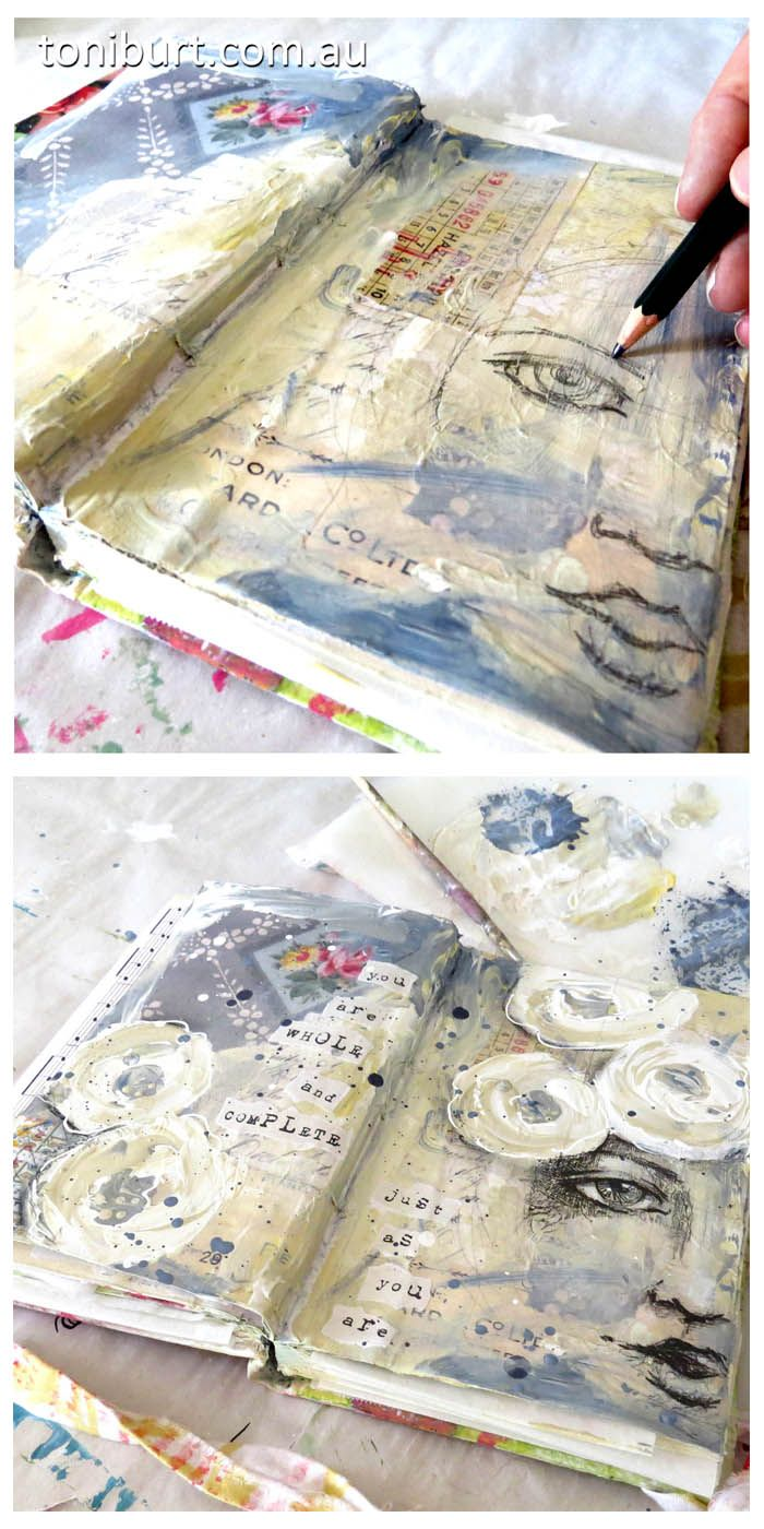 The progress of a mixed media art journal page. sketching the girls face with graphite. art journaling.