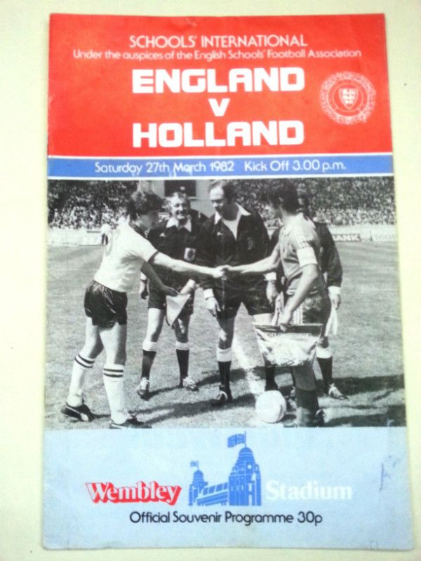 England v Holland Schools International Football Programme 27/03/1982 Listing in the Other,International Fixtures,Football (Soccer),Sports Programmes,Sport Memorabilia & Cards Category on eBid United Kingdom