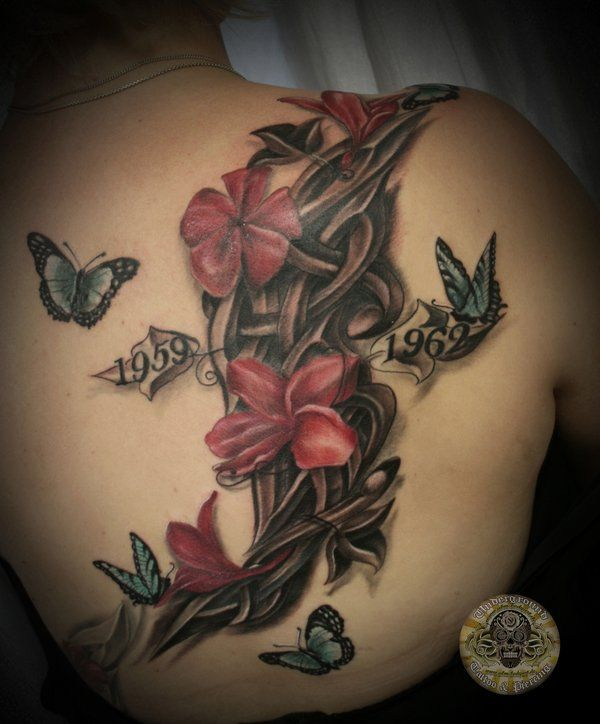 flowers butterflies tribal tat - In some cultures, butterfly means soul or mind. In Japanese culture if a butterfly enters your guestroom, the person whom you most love is coming to see you.