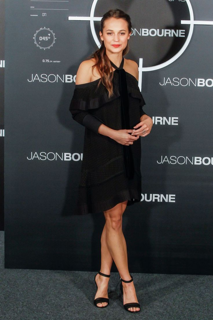 Alicia Vikander in a Proenza Schouler off-the-shoulder dress - click  through to