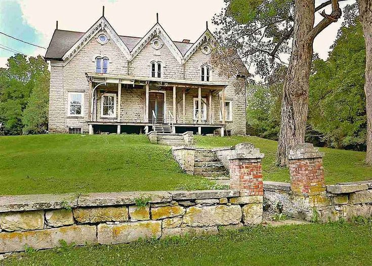 Pin by hildie westie on exterior pinterest for Gothic revival farmhouse