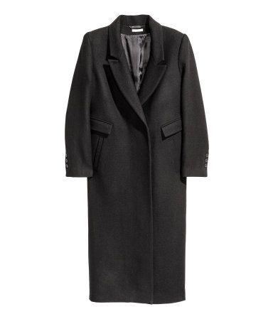 Langer Mantel aus Wollmischung   Schwarz   Damen   H&M DE