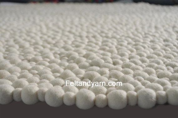 Felt ball rug in stunning natural white colors-free shipping