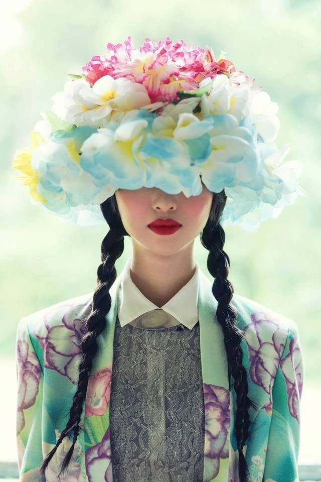 Pretty floral prints, flower hat, fashion photography