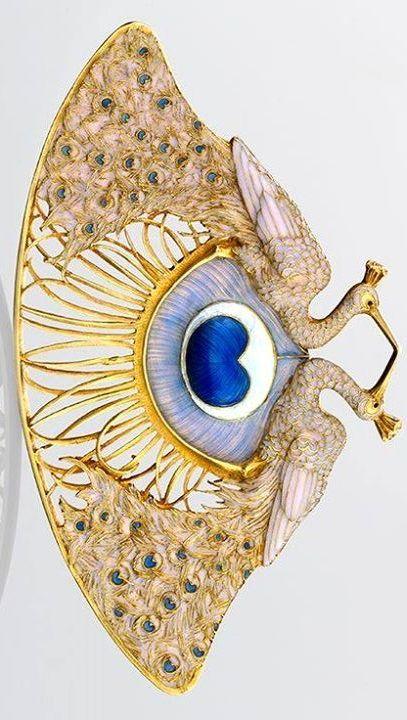 """René Lalique. Gold & Enamel """"Two Peacocks"""" Pendant, circa 1897-1898."""