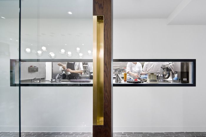 Pollen Street Social (London) Designer: Neri - Great entance, it's always good to be able to see the kitchen when eating out.