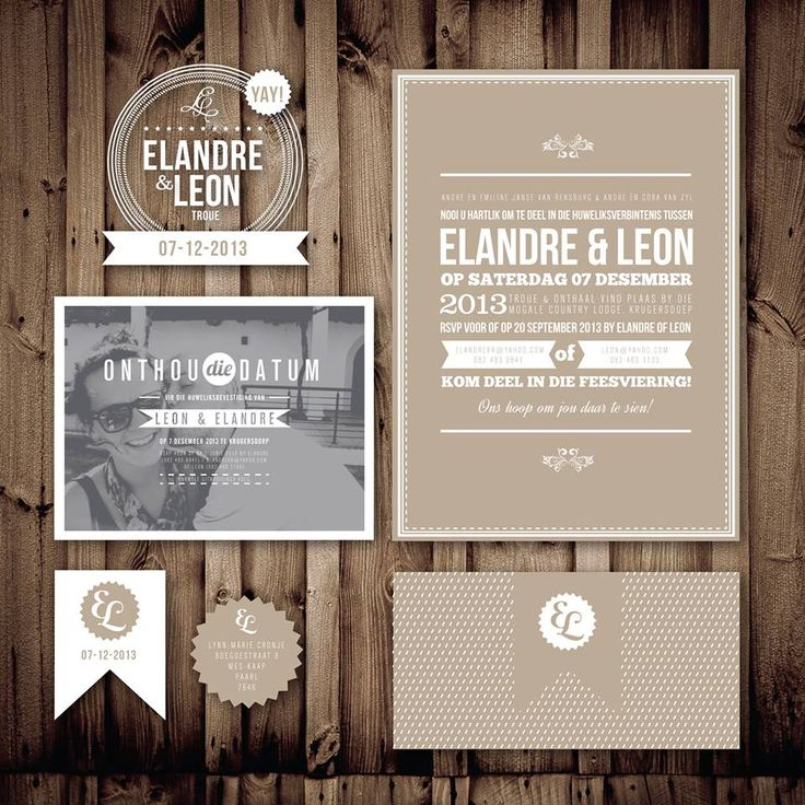 Wedding stationary - printed on recycled brown paper
