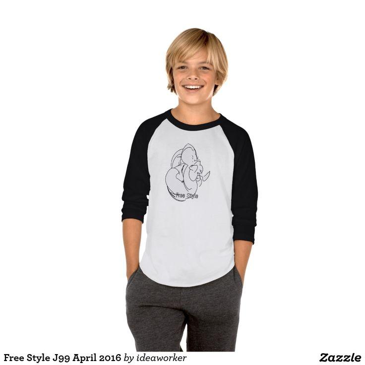 Free Style J99 Kids' American Apparel 3/4 Sleeve Raglan T-Shirt (Color: White/Black)   #design #fashion #freestyle #kid #raglan #tshirt