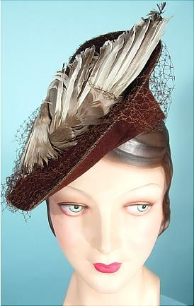 c. late 1930's/early 1940's Brown Felt Hat with Large Graded Feathers Owned and Worn by ANITA LOOS