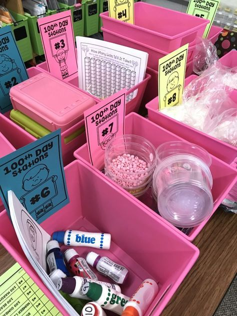 100th Day of School Station Activities for Kindergarten. Freebies and ideas to create an amazing 100th day of fun.