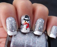 Cute snowman nails for Christmas.