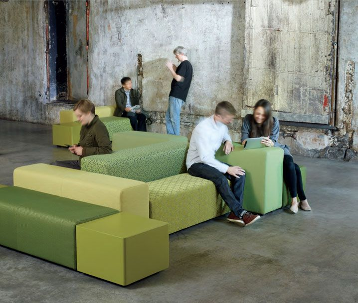 Jumble, on Designer Pages  Jumble is an upholstered lounge seating system for public buildings, lounges, reception spaces, lobbies, common office areas, and corridors. The collection is a simple kit of 6 parts that can be arranged to create unlimited dynamic seating landscapes.