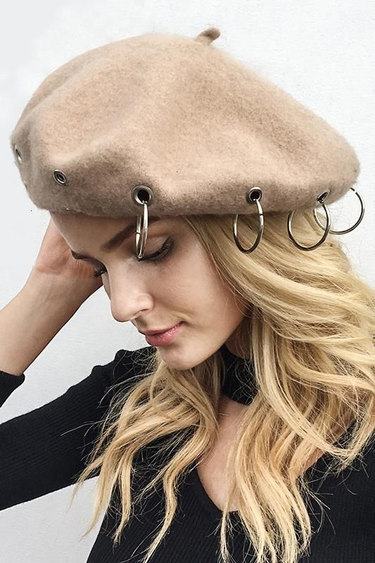 8DESS Fashion Iron Ring Soft Women Beret Hat Wool Warm Beanie Cap Hats
