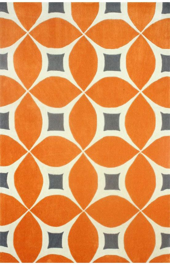 Rugs USA Radiante Trellis BC55 Deep Orange Rug, 100% Polyester, Hand Tufted, Contemporary, pattern, orange, home decor, home design.