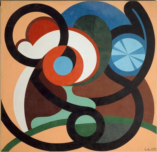 Auguste HERBIN (1882-1960), Mouvement continu, mouvement inverse, mouvement interne, 1937 - Herbin adopte le mouvement circulaire, les volutes.