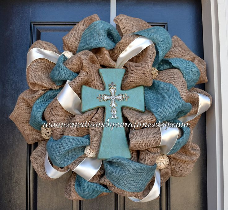 Easter Burlap And Turquoise Cross Wreath