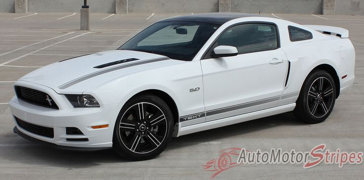 2013-2014 Ford Mustang CALI California Special GT/CS Style Rocker and Hood Factory OEM Style Lower Rocker Stripes Vinyl Decal Graphics