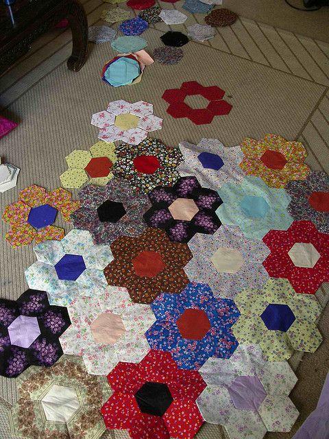 Hexagon paper pieced quilt; $5