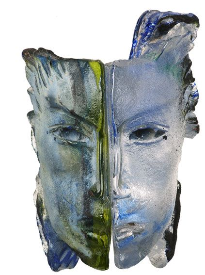 "Claes Uvesten ""Split Vision"" cast glass sculpture."