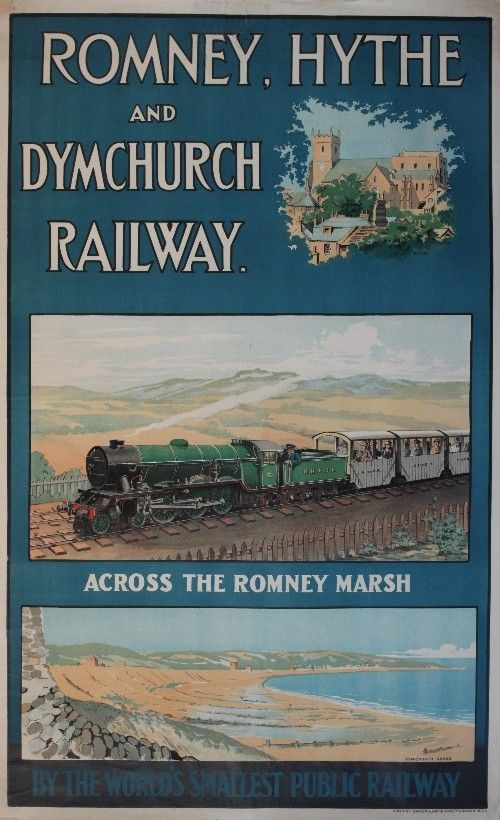 Romney, Hythe and Dymchurch Railway, across the Romney Marsh - 1925 - (Salmon) -