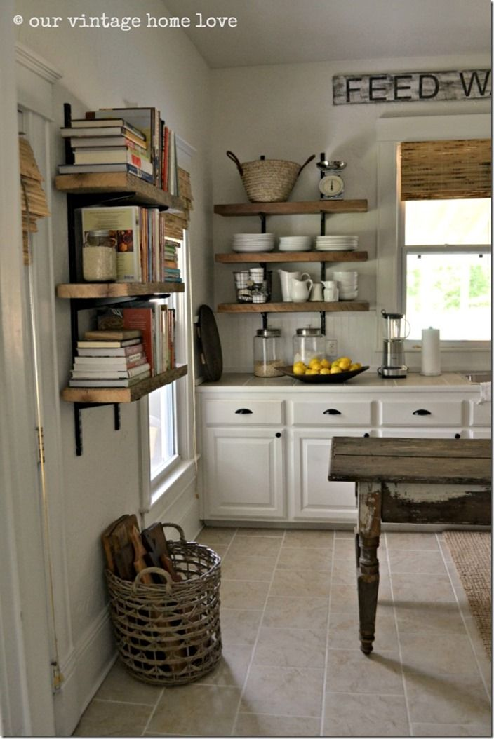 Feature Friday: Our Vintage Home Love. Kitchen BookshelfOpen Kitchen  ShelvingOpen ...