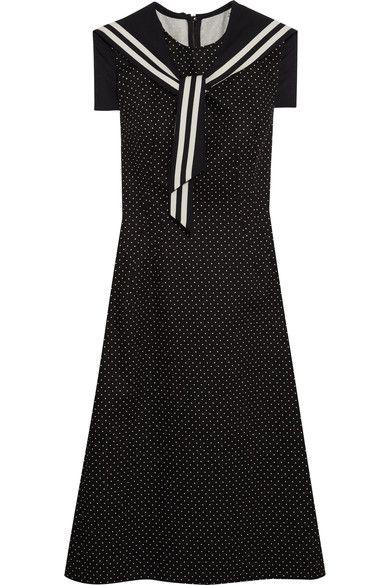 Dolce & Gabbana - Crystal-embellished Polka-dot Cotton-blend Twill Dress - Black - IT38
