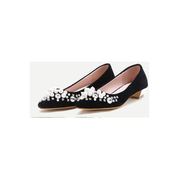 Black Jewelry Embellished Velvet Point Toe Pumps (56 BAM) ❤ liked on Polyvore featuring shoes, pumps, decorating shoes, black pointed toe pumps, pointed toe shoes, black shoes and black court shoes