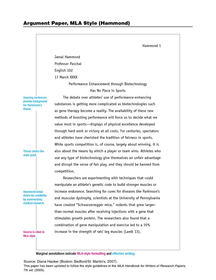 MLA Style Research Paper Examples Response Paper
