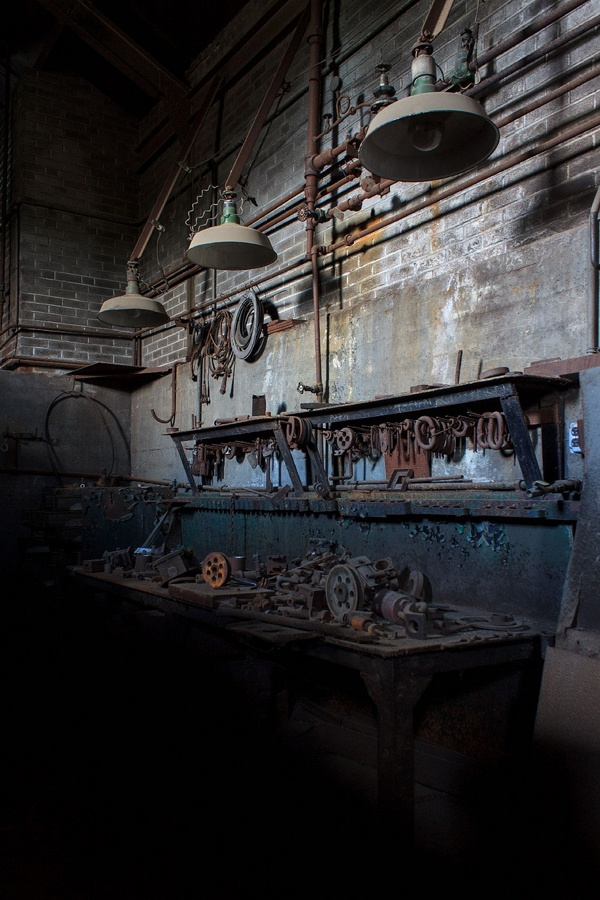 Atmospheric picture taken inside an abandoned factory
