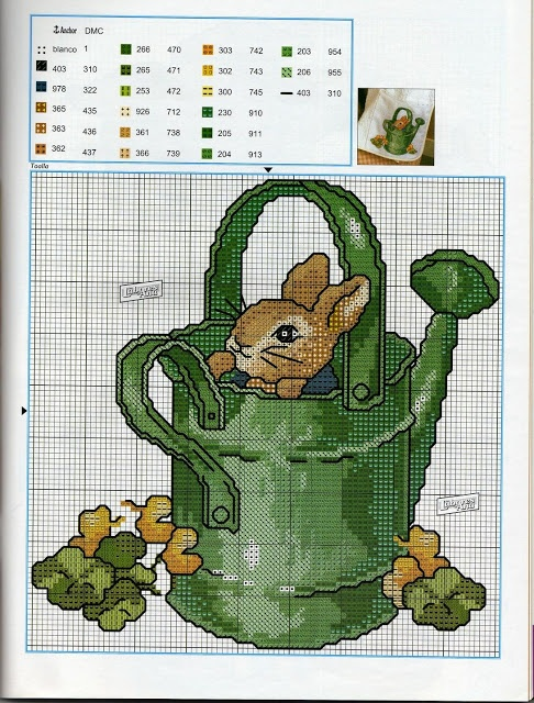 Adorable bunny in watering can