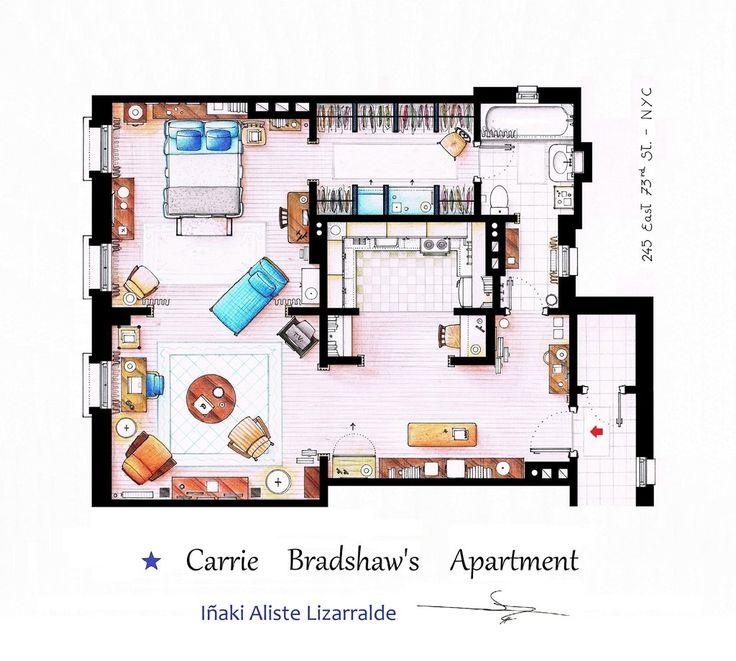 Planta do apartamento de Carrie Bradshaw de Sex and the City