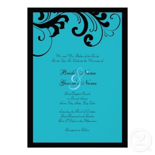 Black Turquoise Swirls Frame Wedding Invitation