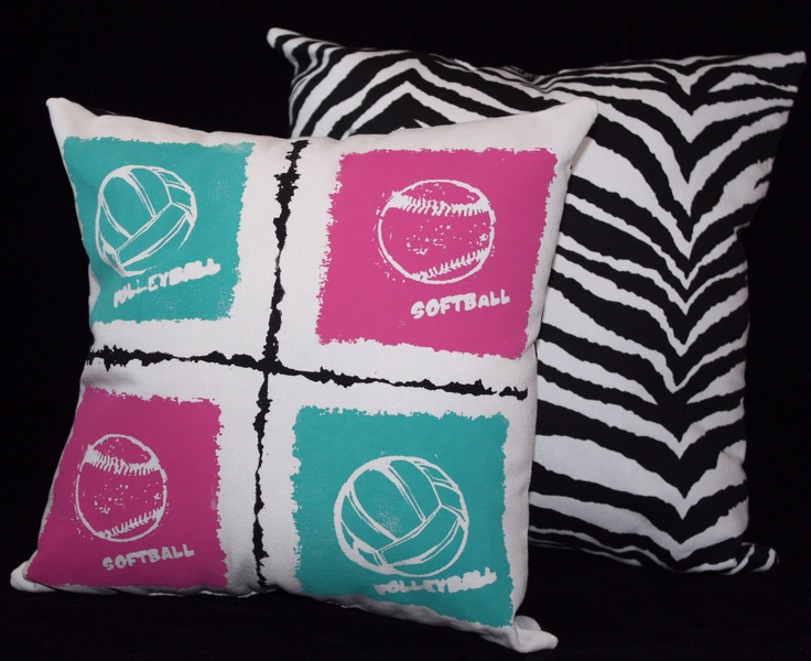 This pillow was designed special for a volleyball and softball lover.  You can design your own pillow including up to 4 sports your athlete loves.  Great sports bedroom decor!