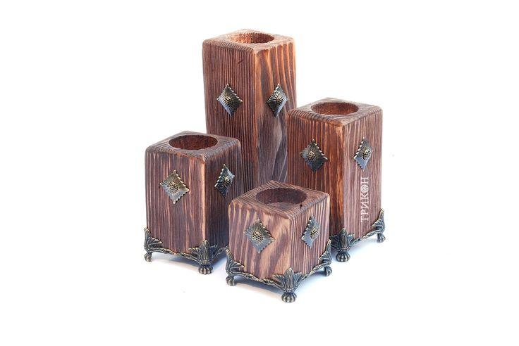 Купить Подсвечники на ножках. Набор под старину | Изделия из дерева Купить | Киев | Производство ТРИКОН