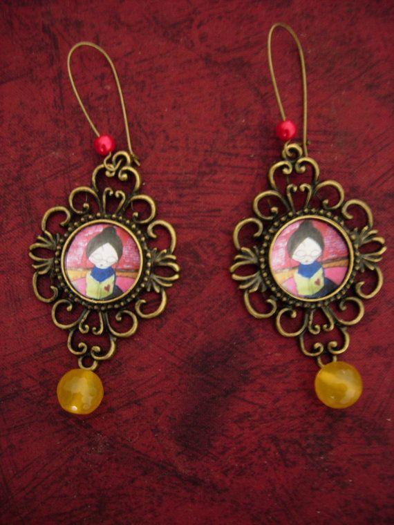 The Book Lover art illustrated beaded earrings by eltsamp on Etsy, $28.00