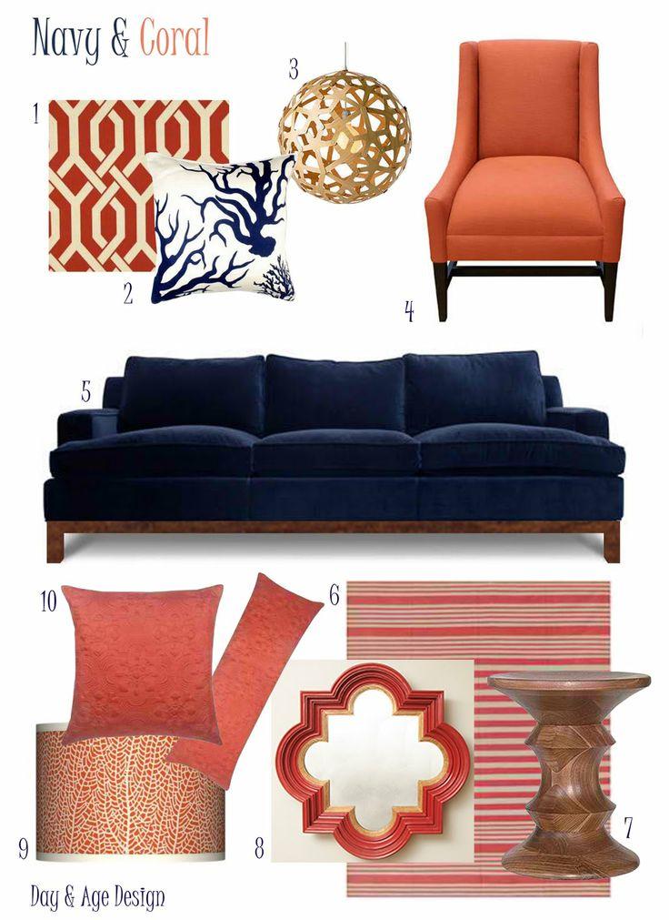 navy & coral: Blue Velvet, Colors Combos, Decor Ideas, Living Room Colors, Navy Coral, Colors Schemes, Living Rooms Colors, Coral Accent, Coral Color