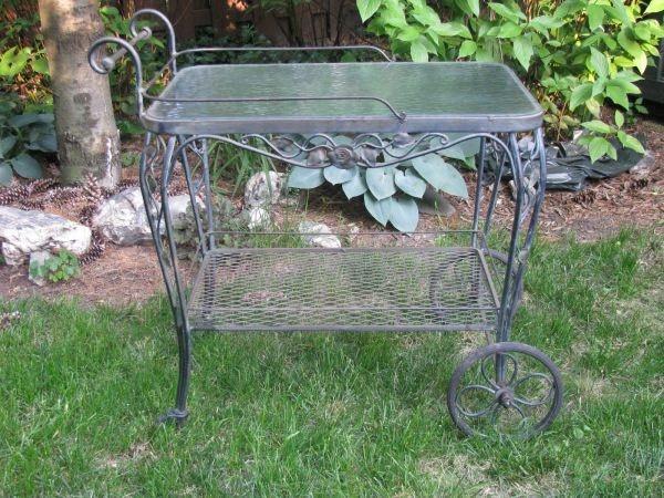 Vintage Wrought Iron Tea Cart Patio Garden Pinterest