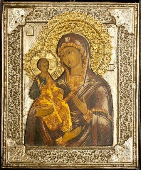 Rara icona Russa dipinta su tavola con riza in argento dorato Madonna delle 3 mani Epoca fine 700 il dipinto e metà 800 la riza