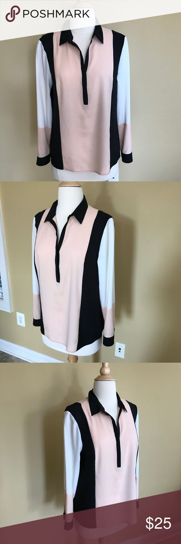 """Ann Taylor Color Block L/S Dress Blouse Smart and Sophisticated Color Block Long Sleeve Blouse from Ann Taylor. Perfect for Work with a Suit  or out to Dinner! Soft Peach, Cream and Black with a 2 Button Closure. 20"""" across the bust.  23"""" from top of the shoulder to hem. 22"""" sleeve length. 100% poly. Excellent condition! Ann Taylor Tops Blouses"""