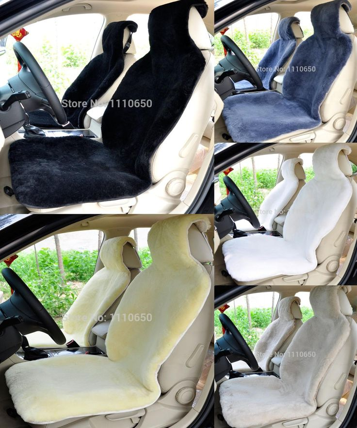 [Visit to Buy] 1 pc  For One Front seat  sheepskin car seat covers black  white gray  yellow black hot in Russia for lada priora ford focus #Advertisement